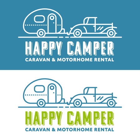 Retro caravaning vector logo template with vintage car and caravan