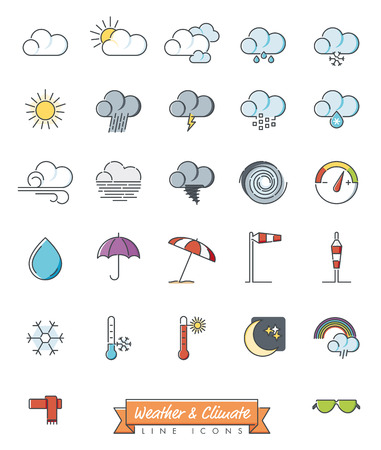 Weather, climate and meteorology related symbols collection, vector line icons with color fill.