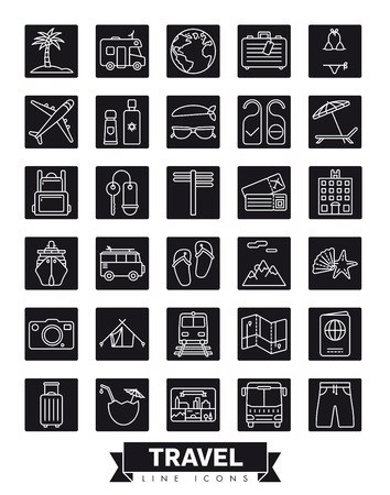 Square summer holidays and global travel  vector line icon collection