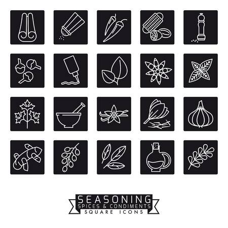 Square black spices, herbs, condiments and seasoning vector icons illustration Illustration