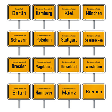 City Limit signs of the German state capitals vector illustration Illustration