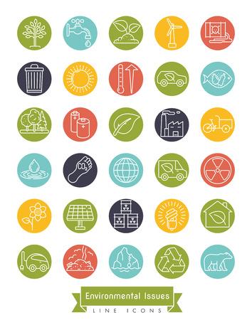 Verzameling van milieu en klimaat gerelateerde vector lijn iconen in gekleurde cirkels. Duurzaamheid, opwarming van de aarde en vervuiling symbolen.