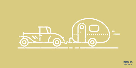 Vintage car and caravan cartoon icon vector illustration Stock Vector - 120508928