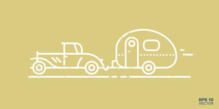 Vintage car and caravan cartoon icon vector illustration