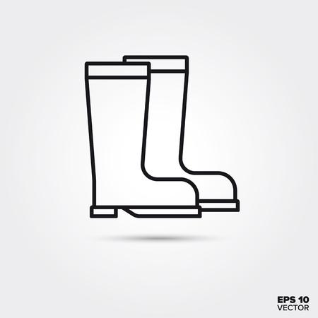 Rubber boots line icon. EPS 10 vector rain boots symbol. Illustration