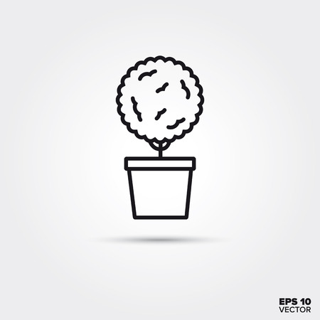 Potted topiary line icon. EPS 10 vector symbol.