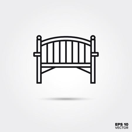 Wooden garden bench line icon. EPS 10 vector outdoor furniture symbol. Illustration