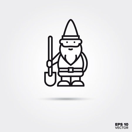 Garden gnome with shovel line icon. EPS 10 vector decoration symbol.
