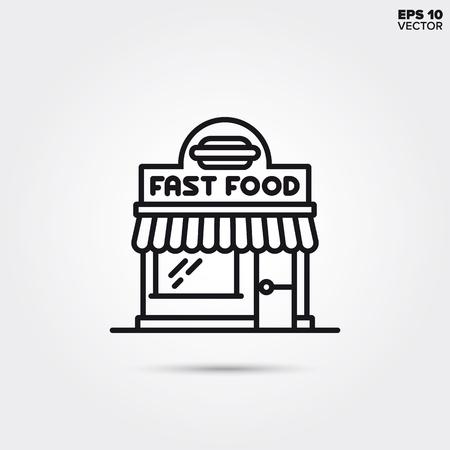 Icono de línea de restaurante de comida rápida. Ilustración vectorial EPS 10.
