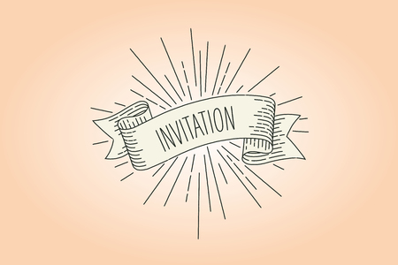 Invitation banner. Ribbon banner greeting card in vintage look with word invitation, engraving style graphic. Retro design element. Vector Illustration.