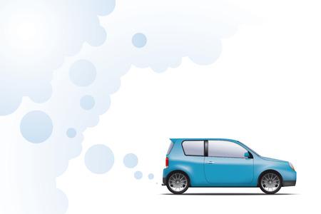Hydrogen powered environmentally friendly car exhausting water vapor Illustration