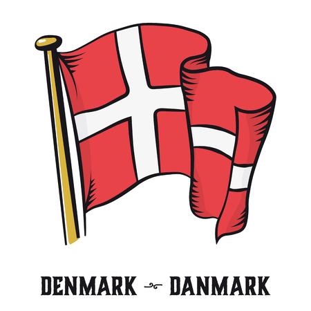 Vintage engraving style Denmark flag vector illustration