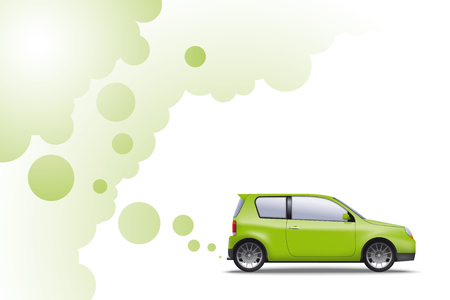 Environmentally friendly car exhausting green fumes