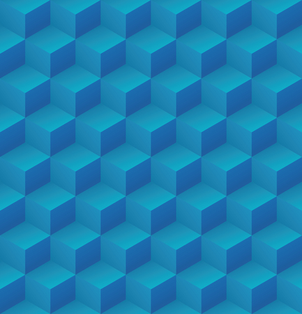 Geometric abstract blue cubic seamless pattern vector background illsutration