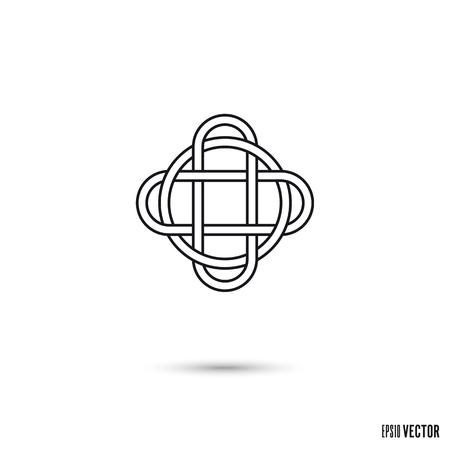 Keltischer Knoten, verflochtene unendliche Bandumriss-Symbolvektorillustration