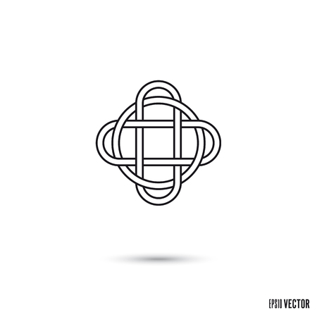 Celtic knot, intertwined infinite ribbon outline symbol vector illustration