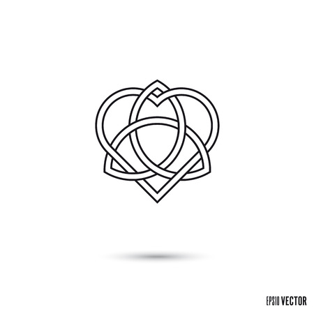 Celtic love knot, intertwined heart shape and triquetra symbol infinite ribbon outline vector illustration Stock Vector - 122784740