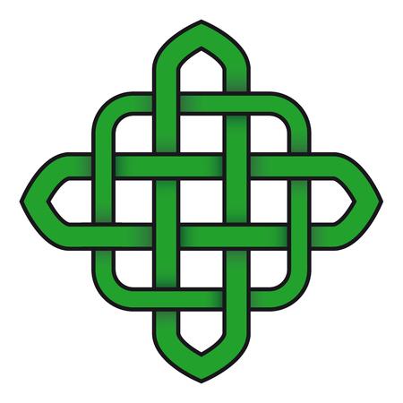 Green celtic knot symbol vector illustration Ilustração