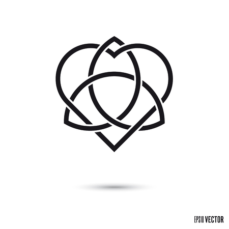 Celtic love knot, intertwined heart shape and triquetra symbol endless ribbons vector illustration