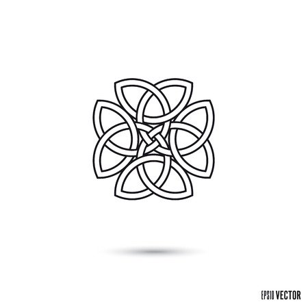Celtic clover knot, intertwined triquetra symbols infinite ribbon outline vector illustration