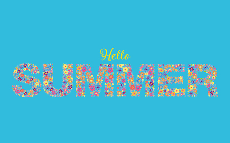 Banner with phrase Hello Summer written in floral typeface on sky blue background Illusztráció