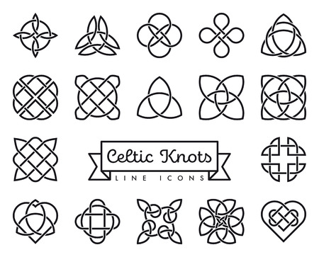 Colección de iconos de línea de nudos celtas tradicionales ilustración vectorial. Símbolos de espiritualidad, religión y ocultismo.