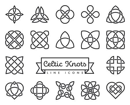 Sammlung von traditionellen keltischen Knoten Linie Icons Vector Illustration. Symbole für Spiritualität, Religion und Okkultismus.
