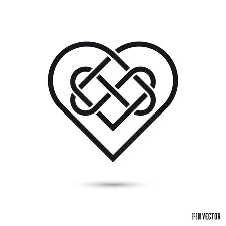 Celtic love knot, intertwined infinite ribbon stencil symbol vector illustration