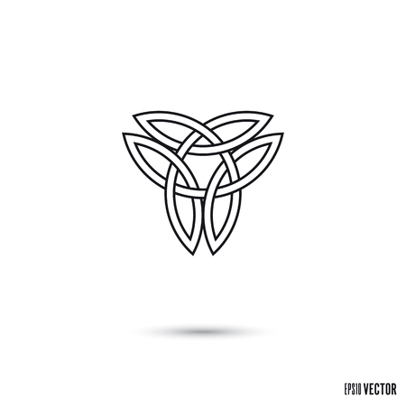 Celtic knot, intertwined double triquetra symbol infinite ribbon outline vector illustration