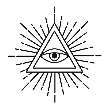 Eye of Providence or All seeing eye inside triangle pyramid. Religion, spirituality and occultism symbol Isolated vector illustration 일러스트