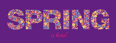 Banner with phrase SPRING is here written in floral typeface on purple background