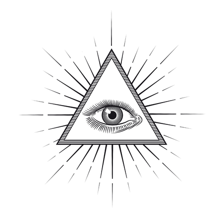 Vintage engraving style Eye of Providence or All seeing eye inside triangle pyramid. Religion, spirituality and occultism symbol Isolated vector illustration