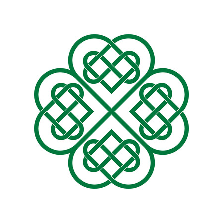 Four-leaf clover, celtic lovers knot, saint patricks day symbol isolated vector illustration