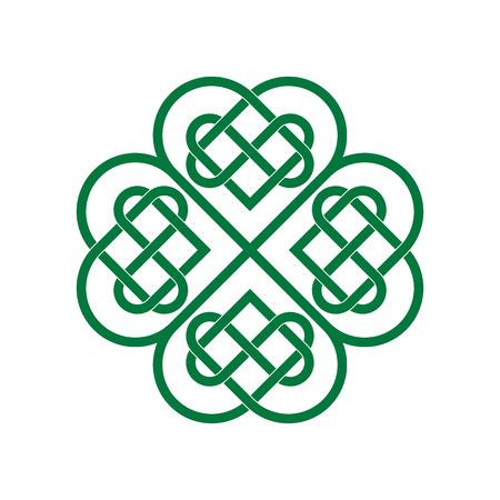 Four-leaf clover, celtic lovers knot, saint patricks day symbol isolated vector illustration