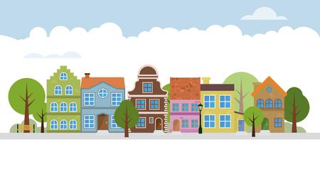 Illustrazione vettoriale del quartiere della strada principale del villaggio carino