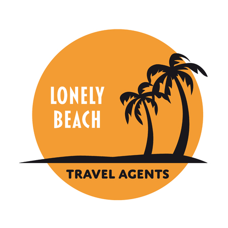 Lonely beach with palm trees in sunset vector logo template
