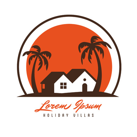Beach hut and palm trees in sunset vector logo template Logo