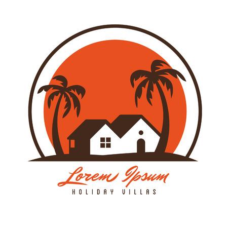Strandhütte und Palmen in der Sonnenuntergangvektorlogoschablone Logo