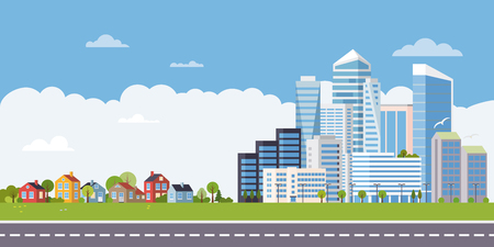 Suburban and urban landscape. Cottages at one end of the road, highrises and skyscrapers at the other,  flat design vector illustration Ilustração