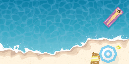 summer beach and ocean high angle view background banner. Vector illustration with girl floating on air mattress, beach umbrella and sun bed at the sea shore.