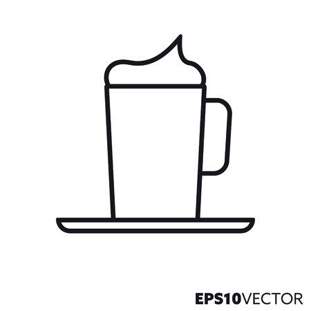 Icona della linea di caffè con panna montata. Simbolo di contorno di specialità di caffè e bevande calde. Illustrazione di vettore piatto stoviglie.