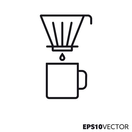 Drip filter coffee brewing line icon. Outline symbol of hot drink preparation and kitchenware. Coffee mug and drip filter holder flat vector illustration.