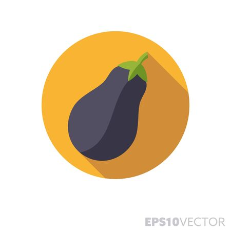 Eggplant flat design round icon. Color symbol of food and vegetables. Long shadow vector illustration in a circle isolated on white background.