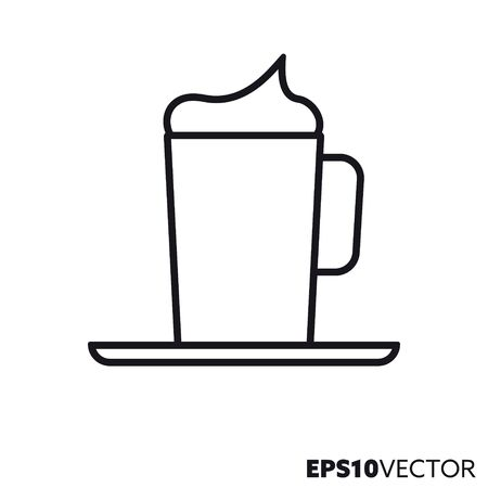 Coffee with whipped cream line icon. Outline symbol of coffee specialties and hot drinks. Kitchenware flat vector illustration.