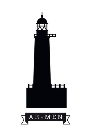 Silhouette of Ar-Men lighthouse near Sein island, France, vector illustration Çizim