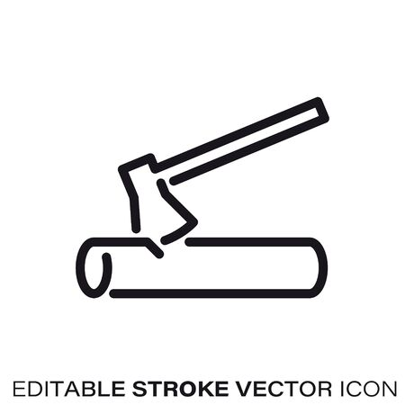 Axe and log line icon. Outline symbol of lumbering and gardening. Editable stroke flat vector illustration.