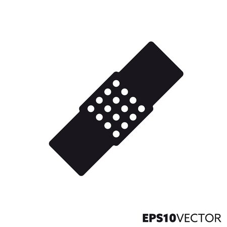 aid strip solid black icon. Glyph symbol of health care and medicine. First aid flat vector illustration.