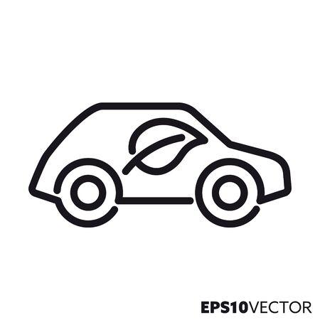Ikona linii pojazdów silnikowych o niskiej emisji. Symbol konturu przyjaznego dla środowiska transportu samochodowego i nie zanieczyszczającego środowiska. Samochód z ilustracji wektorowych płaski liść.
