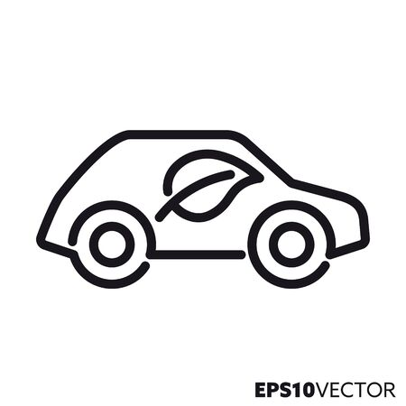 Low emission motor vehicle line icon. Outline symbol of environmentally friendly car and non-polluting transportation. Automobile with leaf flat vector illustration.