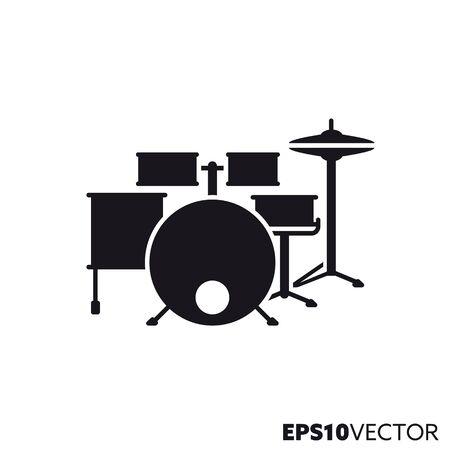 Icono de línea de kit de batería. Símbolo de glifo de instrumentos de percusión y música rock. Ilustración de vector plano de instrumentos musicales.